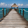 Boardwalk and turquoise water in the Gulf of Mexico, Cozumel Mexico.  Copyright - W. Keith Baum | PhotoCanal.com