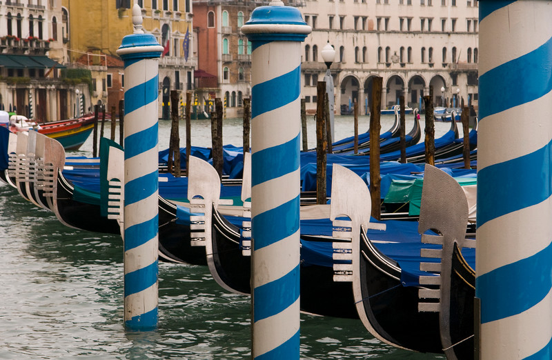 Gondola's and poles in the Grand Canal, Venice Italy  Copyright - W. Keith Baum | PhotoCanal.com