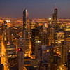 City Skyline and Sears Tower (Right) at dusk, Chicago, IL.  Copyright - W. Keith Baum | PhotoCanal.com