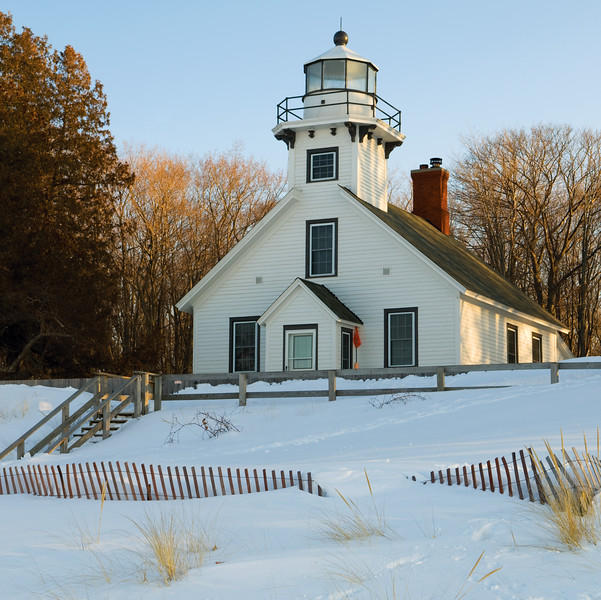 Old Mission Point Lighthouse in snow, Mission Point, MI, USA.  Copyright - W. Keith Baum   PhotoCanal.com
