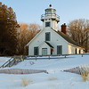 Old Mission Point Lighthouse in snow, Mission Point, MI, USA.  Copyright - W. Keith Baum | PhotoCanal.com