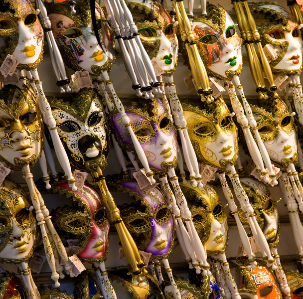 Venetian Masks, The first documented usage of Venetian masks in conjunction with the annual celebration of the triumph over Ulrich II of Treven in 1268. Venice Italy  Copyright - W. Keith Baum | PhotoCanal.com