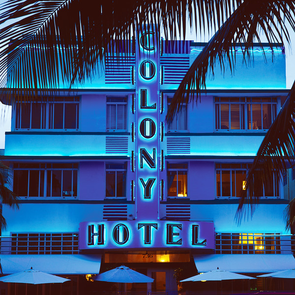 Colony Hotel in the famous Art Deco section of Ocean Drive, South Beach, Miami, FL.  Copyright - W. Keith Baum   PhotoCanal.com