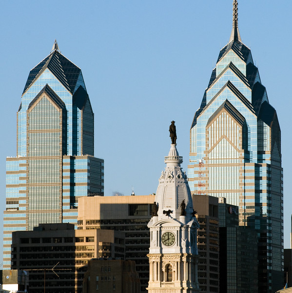 City Hall topped by William Penn and flanked by sky scrapers, Philadelphia, PA  Copyright - W. Keith Baum   PhotoCanal.com
