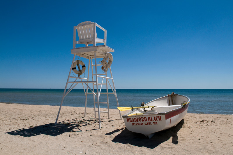 Lifeguard chair and boat on Bradford Beach, Lake Michigan, Milwaukee WI.  Copyright - W. Keith Baum | PhotoCanal.com