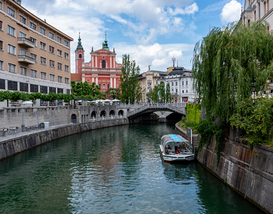 Ljubljanica River with Franciscan Church