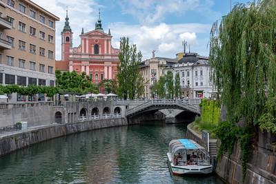 Ljubljanica River with Franciscan Church