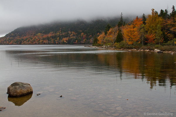 on Jordan Pond, autumn leaves and reflections