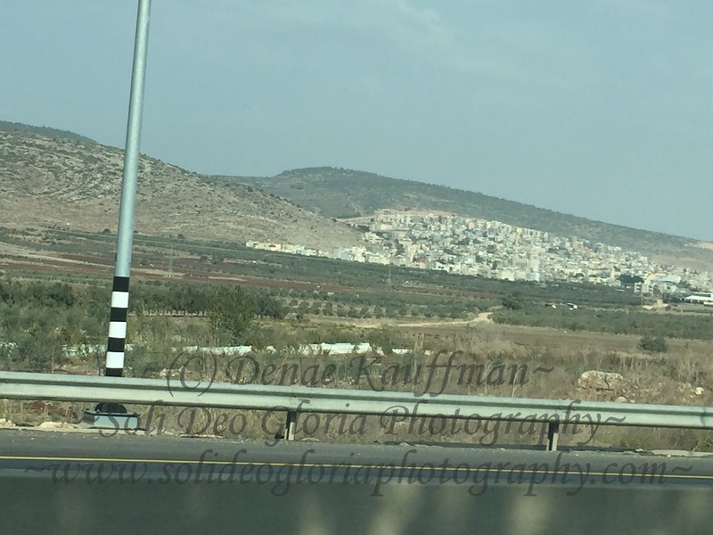 This photo shows you a view of the wide variety of crops that are grown here in Israel, as well as another Arab village set on the hillside.