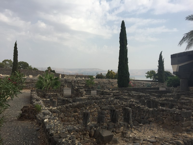 The ruins of Capernaum overlooking the Sea of Galilee.