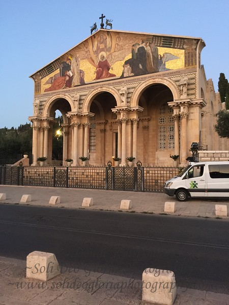 """The Church at the Garden of Gethsemane. From here we began the 500 step climb to the top of the Mount of Olives, about half way up as we were huffing and puffing, one of the guys said """"Don't worry we are almost half way there"""". NOT what we wanted to hear!"""