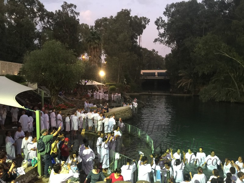 There are hundred gathered to be baptized in the Jordan River! There was much singing and praising the Lord in many tongues from many nations!