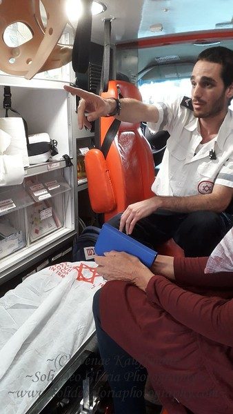 Our friend Mosje who come to translate sometimes and visit the children works on the Tel Aviv Friends of Megan David Adom Ambulance Crew.