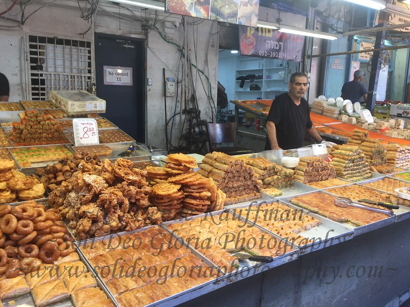 The breads and Baklava for sale at the Caramel Markets in Tel Aviv.