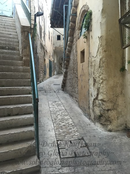 Starting up the Jesus Trail in Nazareth. The indentation in the street is just wide enough for a laden donkey.