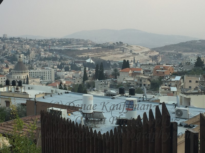 Overlooking the valley of the original Nazareth where Jesus grew up. The church tower to the left is the Church of Annunciation over the cave in the earlier photos.