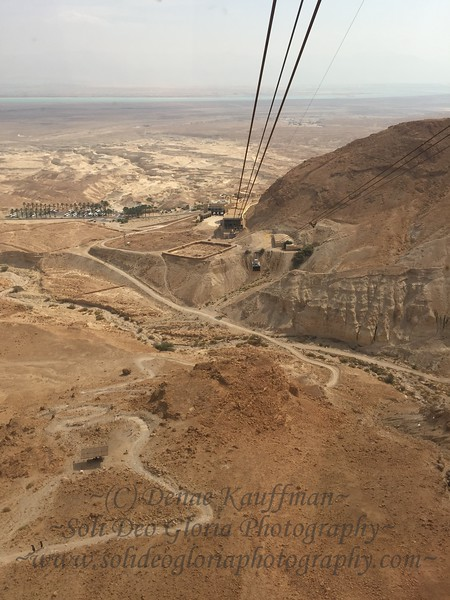 Ascending Masada. I had thought to hike it, but our time was quite restricted and I had talked to a couple of avid bikers the day before that said it was quite a hike even for them, so I decided not to and bought a ticket both ways on the cable cars. Once I saw the path, I knew I had definitely made the right decision!