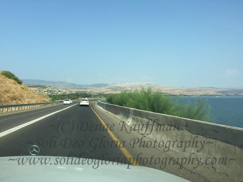 Driving north along the coast towards Ginosar and Magdala.