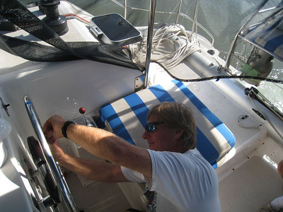 Ok so we have just entered the first of 6 locks and we are preparing to tie to Blue Pearl who is tied to a giant Tugboat that is tied to the wall.  WE have little room and what should happen but our Auto Pilot engaging lever pin breaks.  Now in 20 seconds I have to find the right size allen wrench, remove 6 small screws connecting the steering wheel to the autohelm so I can steer manually.  I got it all off in 2 minutes.  Whew.