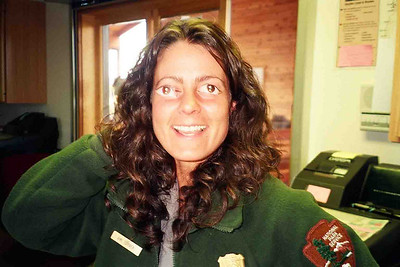 AMI GOOGLE-EYE It wasn't all work, work, work around Bryce Canyon, even though it may have felt like it sometimes. This is my buddy, Ami, clowning around with a couple of cut-out eyes in the Shuttle terminal north of the park. Isn't she cute?