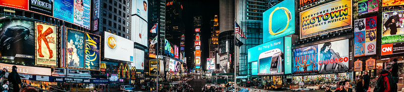 A 100 megapixel panoramic stitched from 10 vertical images in the middle of Times Square.