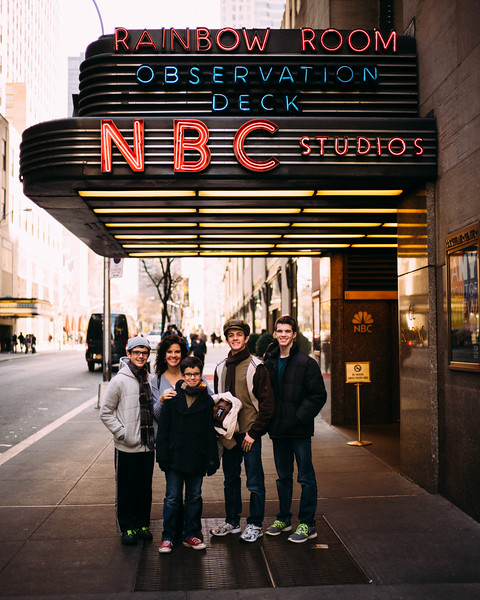 Darcy & the boys at the entrance to NBC at 30 Rock.
