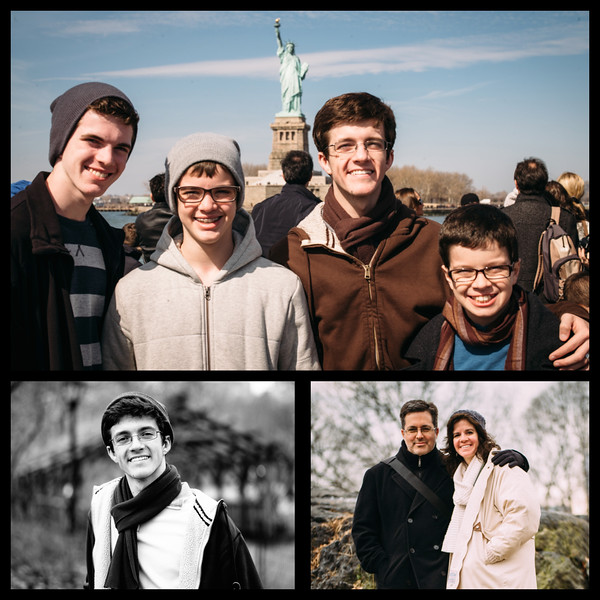 Top: the boys & the Statue of Liberty as we take a boat tour.<br /> Bottom: Candids from Central Park.