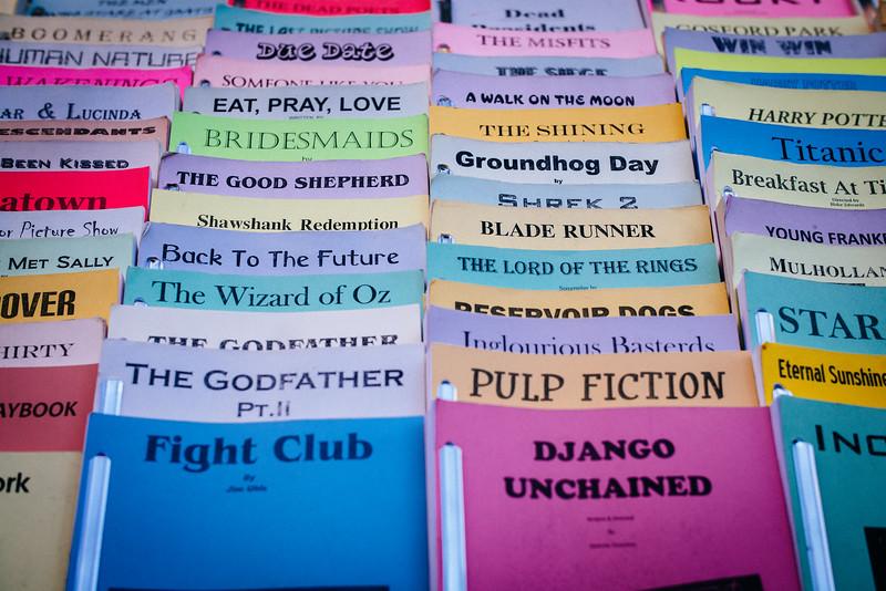 Screenplays for sale from a street vendor.