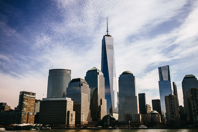 One World Trade towering over the New York skyline as we take a boat around Manhattan.