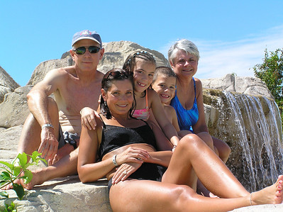 Iberostar Paraiso Lindo - posing at the waterfall with the Jones'.