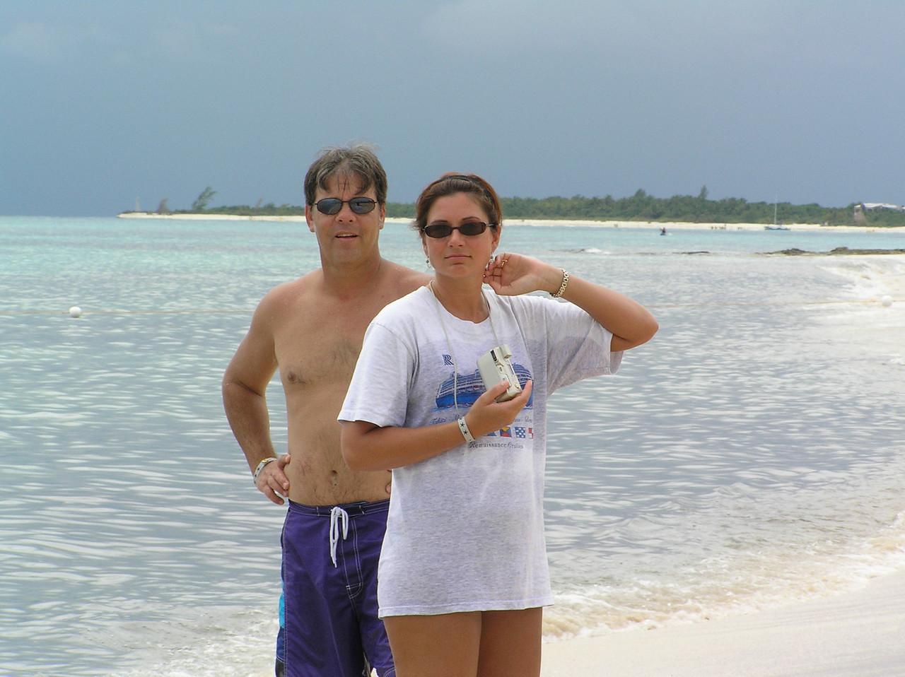 Iberostar Paraiso Lindo - our beach.  Wendy with Steve Pugh.