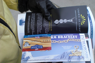 "As we leave, we are handed some ""goodies"". It's jewelry store after jewelry store coupons and nothing else!"