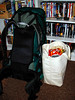 PACKED AND READY<br /> Here's my beloved Dana Designs Terraplane backpack, stuffed to the gills and weighing in at around 40 lbs, I imagine. Notice the bag of Cheetos placed handily at the top of the tote bag, should a sneak snack attack occur. Planning is everything.