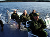 THE CREW Well, half of them, anyway. L to R: Vincent, Gentry, Chris, and Ray. We got a treat on this trip out by actually getting to sit on the upper deck of the mail boat <i>Miss Lizzie</i>. In all my previous trips out, the upper deck was always closed -- usually being reserved for tour trips -- so we took advantage of the opportunity and made ourselves right at home.