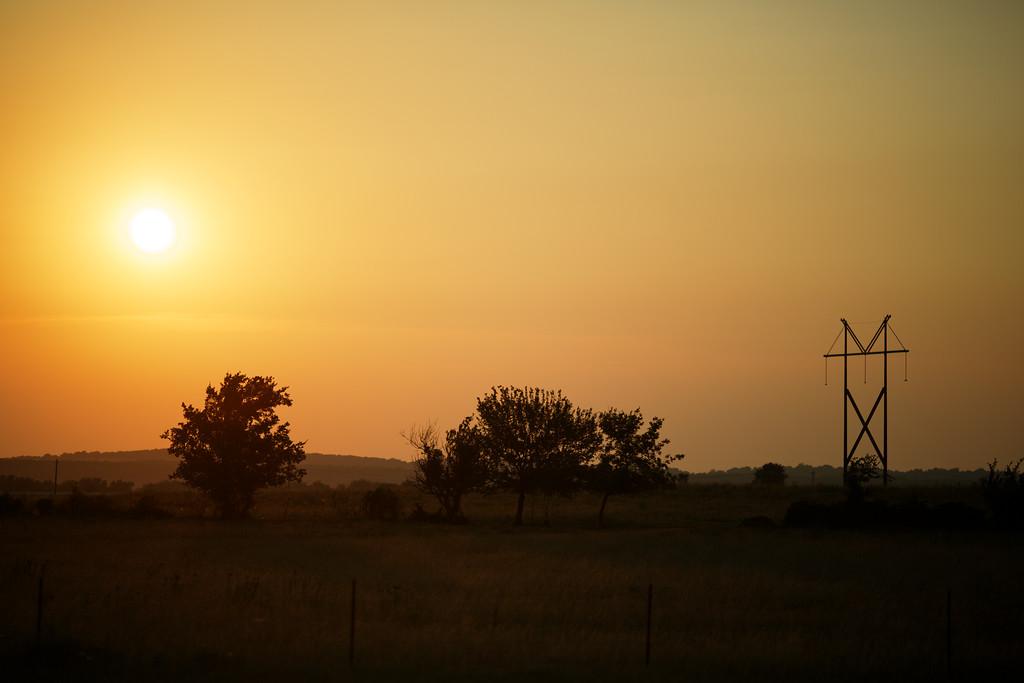 Beautiful sunset over the Oklahoma plains.
