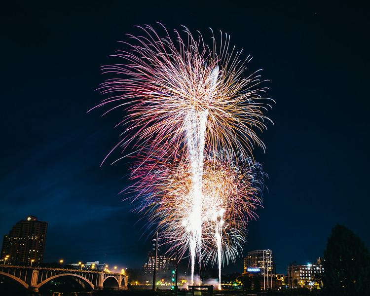 Minneapolis fireworks over the Mississippi River.