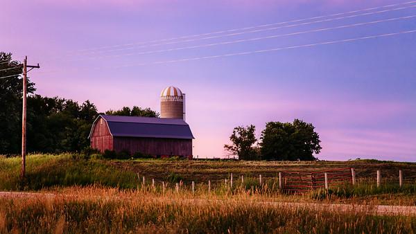 Sunset over a Minnesota Farmhouse