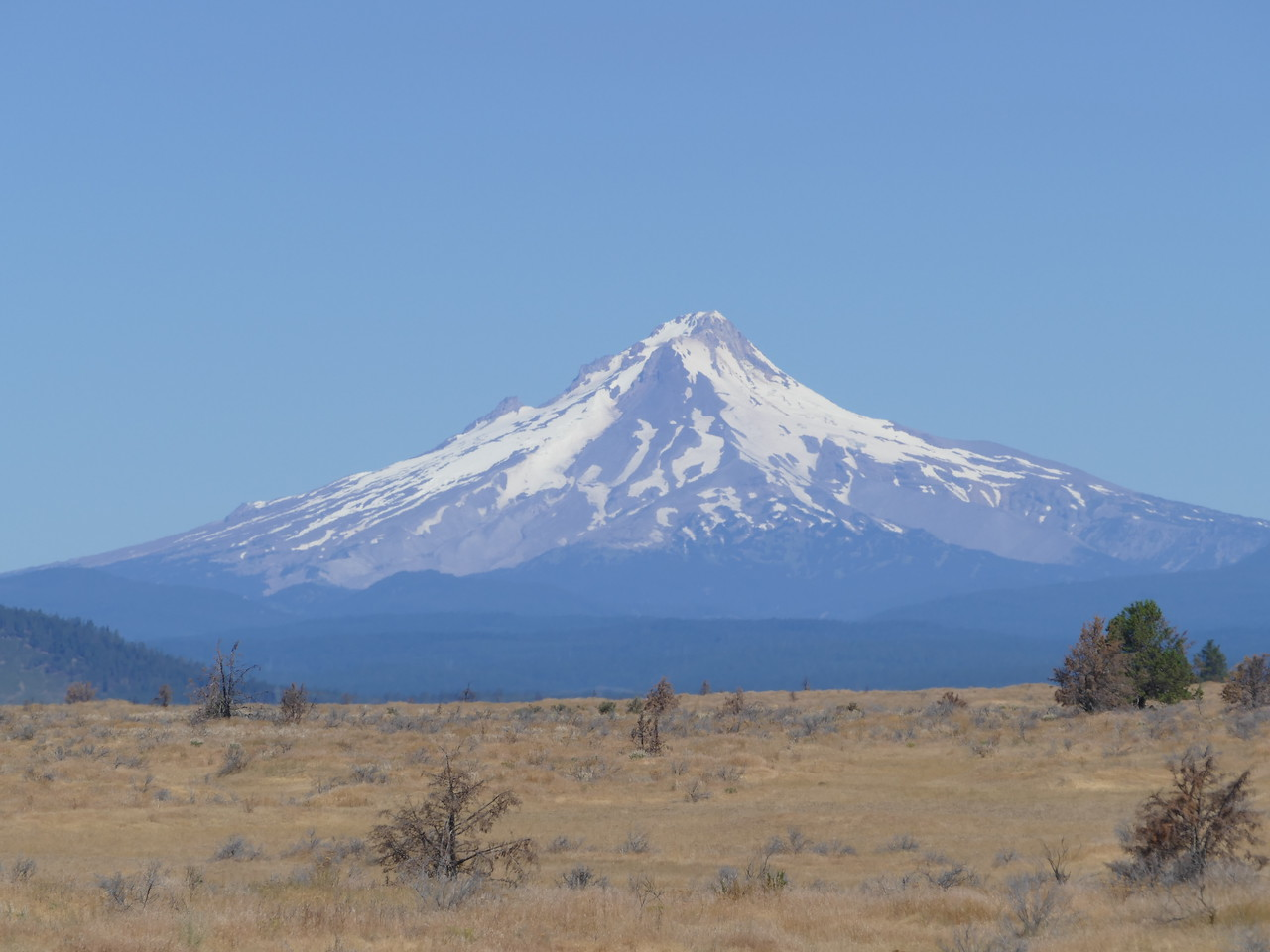A view of Mount Hood from Hwy 26 through the Warm Springs Reservation.