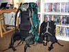 ALL SET TO GO<br /> <br /> All packed up and ready to hit the road, complete with travel mug of coffee. The big backpack weighs about 40 pounds, the little one about 10, as it's carrying my hiking water supply (not that I got to used it much on the hike to the cabin, thanks to squadrons of mosquitoes).