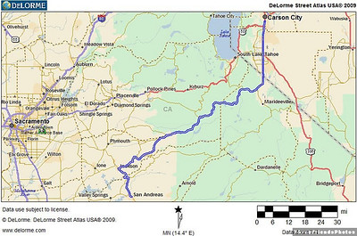 The blue double line from San Andreas to Carson City is the route along which these pictures were taken.
