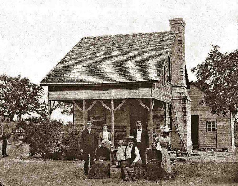 THE OLD MATHER HOMEPLACE - c. 1905<br /> This is what the place looked like over 100 years ago. <br /> <br /> Standing, L to R: Charley, Maggie, Lee, and Ida holding baby Beulah (my grandmother)<br /> <br /> Seated, L to R: Grandma Marcus, Jack, Andrew, and Mary Ellender (Andrew's wife)<br /> <br /> The horse's name is Old Roan. It's said that Andrew was a consummate horseman and always had a horse saddled up and ready outside.