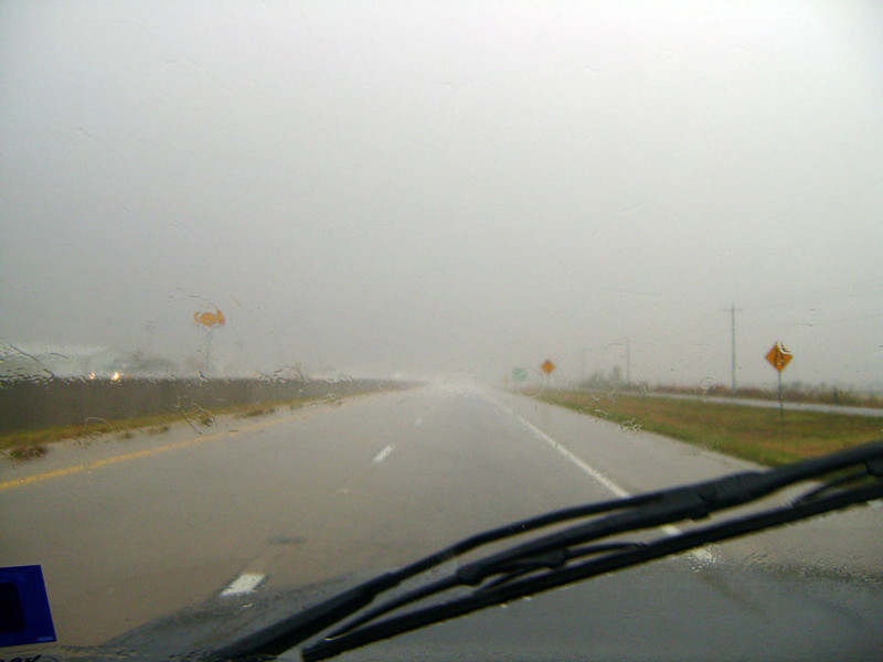 WHAT DID I TELL YOU?<br /> Oh, yeah. This is fun. This wasn't even the worst of it, as I had to slow down to 50-55 mph at one point because I just couldn't see the guy in front of me. This sort of stuff would continue until just before the D/FW area. Thank heavens it stopped when it did, as I had enough trouble navigating that highway system to get to Grand Prairie as it was.
