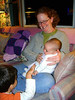 KEVIN, RUTH JEAN, AND LISA<br /> Kevin fawning over his new sister, Ruth Jean, and with good reason. She's quite a cute little bundle, that one.