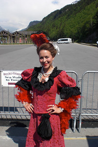 """Later in the afternoon at Skagway we are greeted by our local Madam, """"Ophelia Johnson"""", who will give us a walking tour of Skagway with an emphasis on Brothels and Ghost Stories from the pioneering days."""