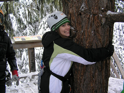 Our Ziptrek Tour on Blackcomb Mountain.  Lexi is an official tree-hugger now.