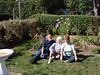Ken, Mom & Daphne in Mom's garden