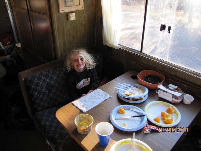 Natalie after breakfast Saturday morning.