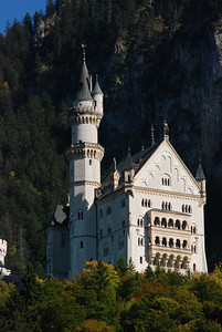The Neuschwanstein Castle. This was the castle of mad King Ludwig II (Ludwig Friedrich Wilhelm).  Crowned at age 17, he stayed in this castle for all of 170 days.  Though he was born in 1845, the castle was not started until 1869 and then completed just before his death in 1886.  Ludwig built three castles in his lifetime:  Neuschwanstein, Linderhof, and Herrenchiemsee.