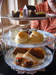 A smorgasbord of yummy things to eat at afternoon tea, also known as lunch for those of us who've just gotten off a boat.