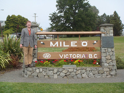 At the south end of Beacon Hill (not named after the one in Boston, but that actually had a beacon there at some point in history), is Mile 0 of Canadian Highway 1.